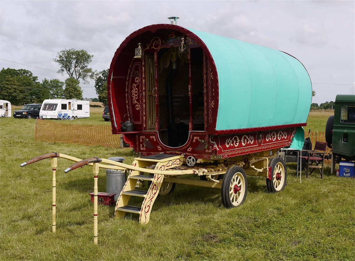 A gypsy caravan in a mobile travelers park.