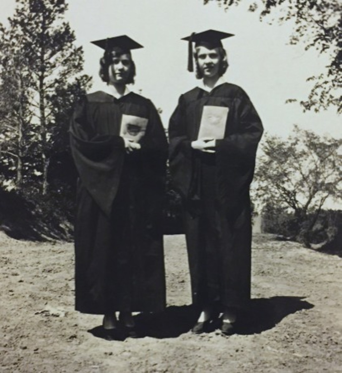 Agnes, right, and her sister, Evelyn, at their high school graduation in 1931.