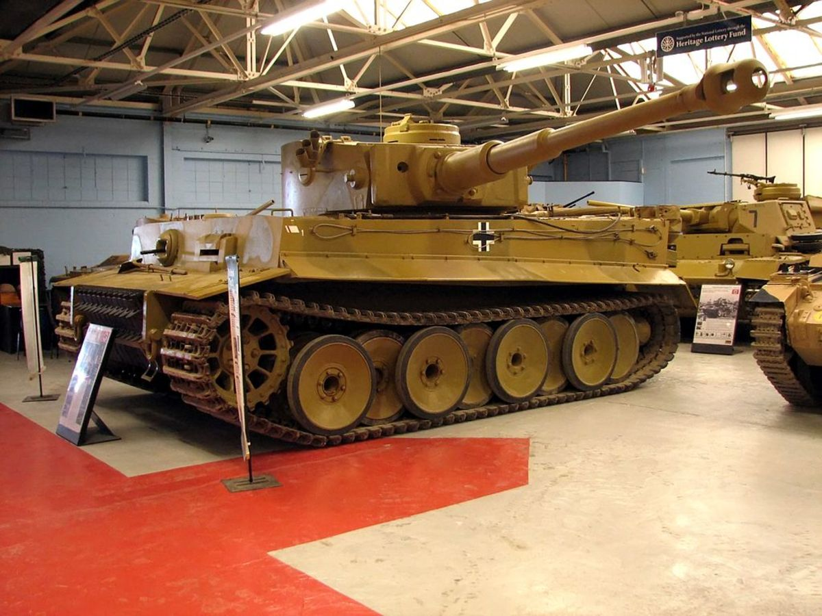 Photograph by Hohum, showing Tiger Tank 131 in Bovington's Tank Museum.