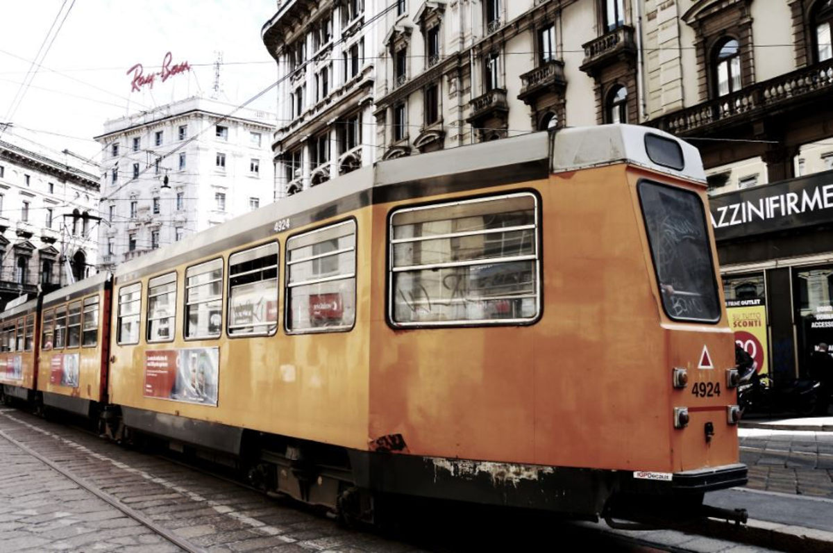 How about hop on a train for a memorable trip in Italy? (photo of a train in Milan, Italy)
