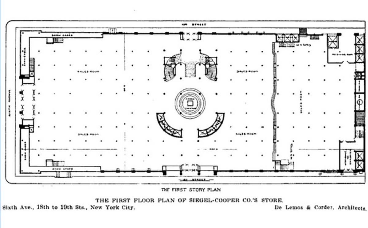 The Original Floorplan of 620 Sixth Avenue (black dots are columns).