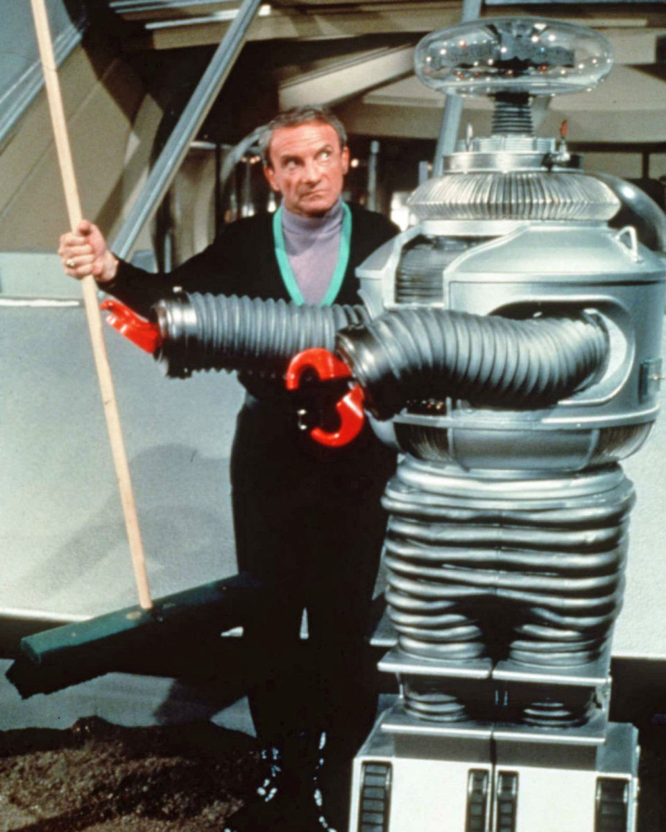 "Dr. Smith & The Robot from ""Lost in Space"" in one of their many colorful conversations."