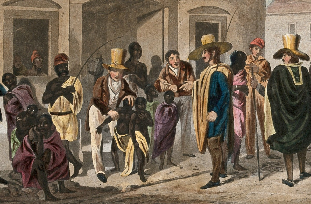 Slaves being examined for sale at market