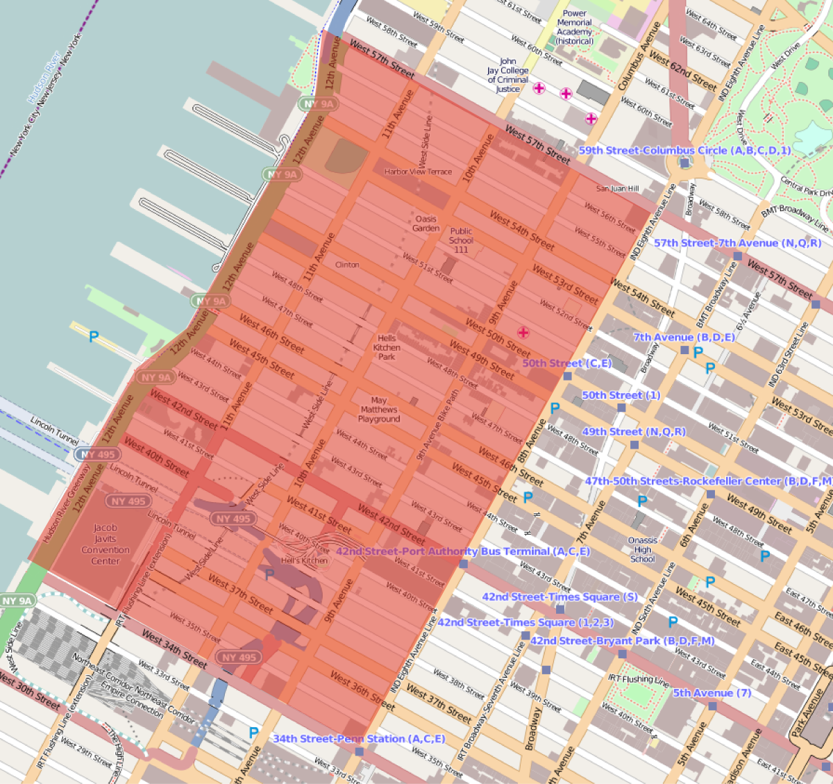 Location map of Hell's Kitchen in Manhattan.