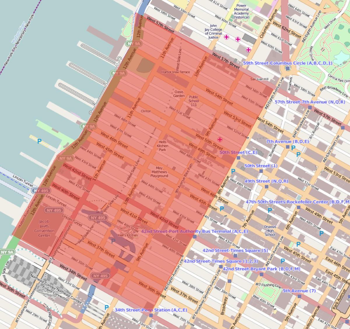 Location map of Hell's Kitchen in Manhattan.