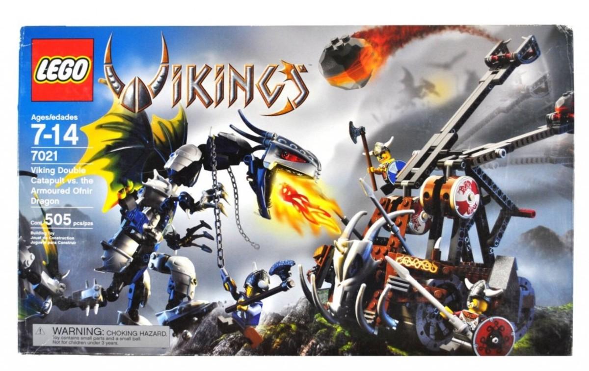 LEGO Vikings Viking Double Catapult Versus The Armoured Ofnir Dragon 7021 Box