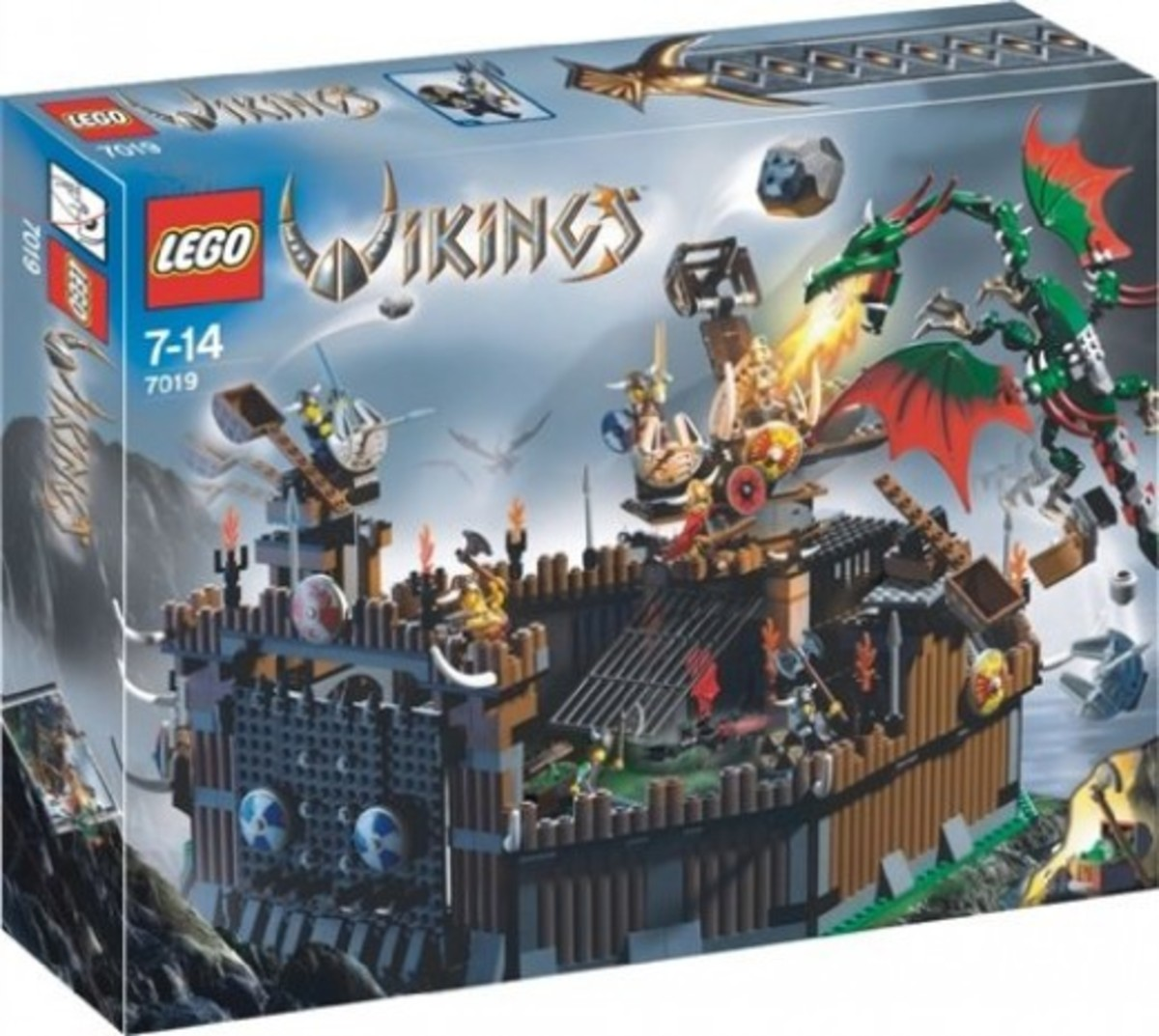 LEGO Vikings Viking Fortress Against The Fafnir Dragon 7019 Box