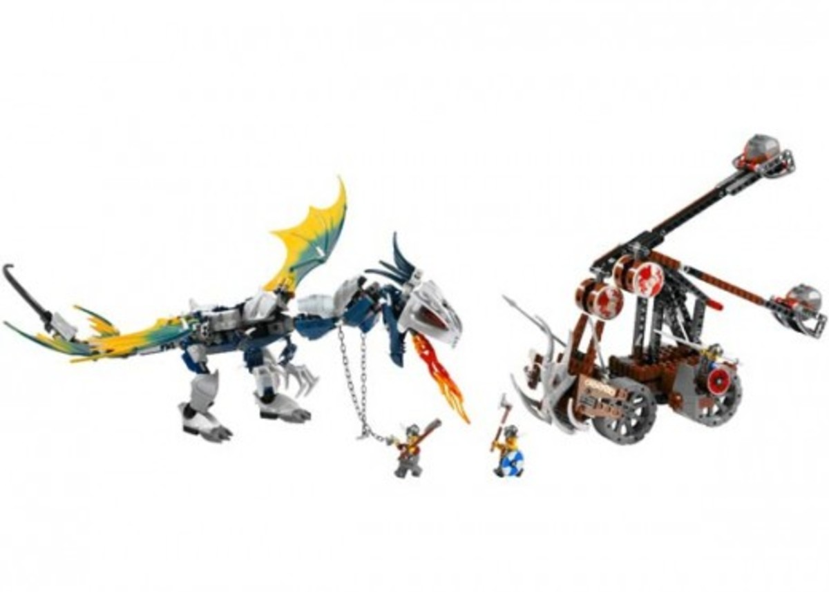 LEGO Vikings Viking Double Catapult Versus The Armoured Ofnir Dragon 7021 Assembled