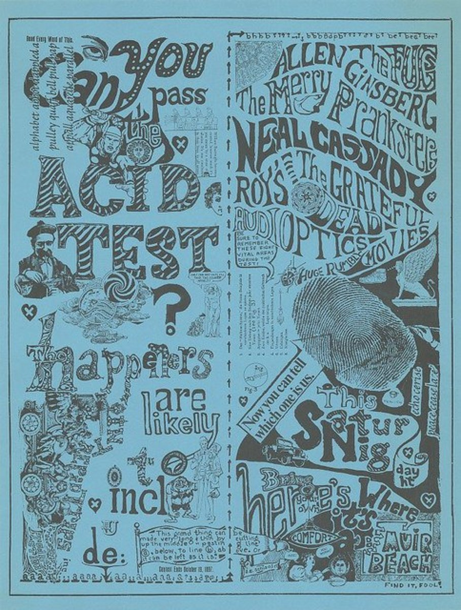 "The Fugs, The Grateful Dead, Allen Ginsberg, Can You Pass the Acid Test ? Paul Foster ""Acid Test"" Concert Poster for Muir Beach Dec. 11, 1965"