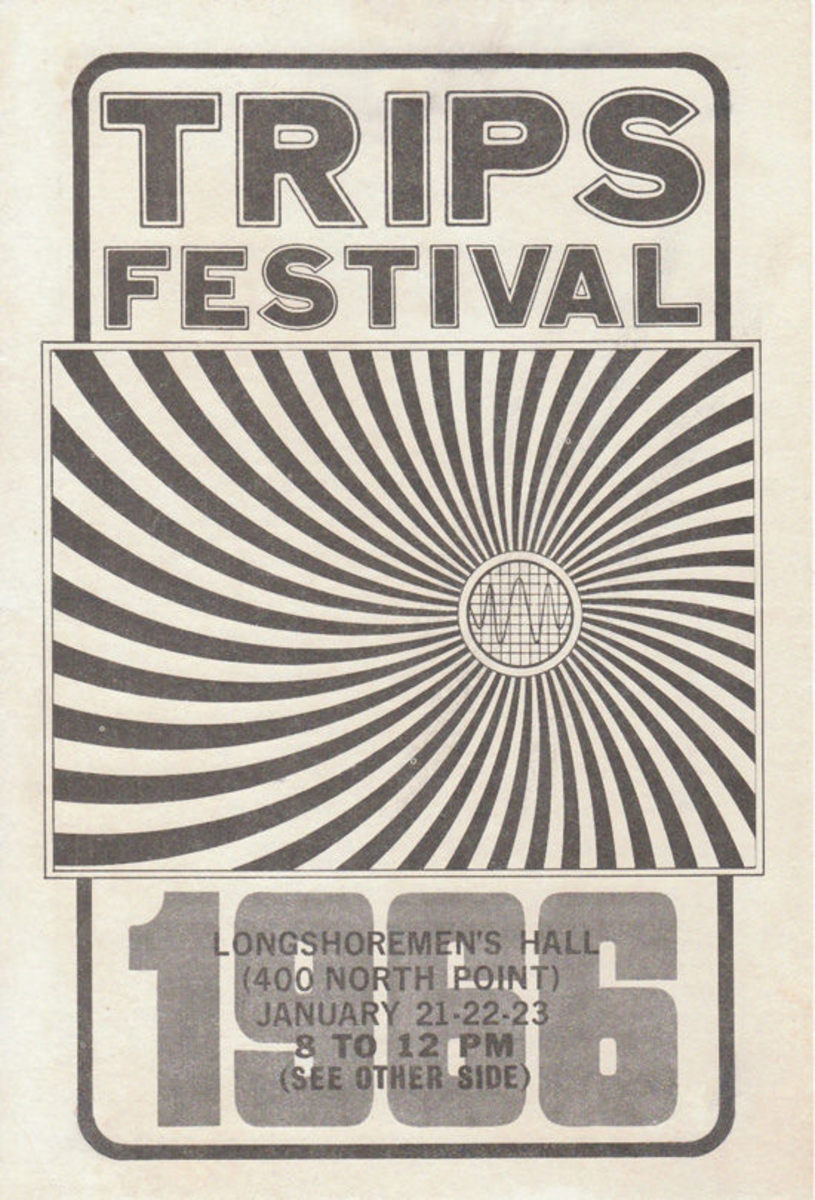 The Grateful Dead, Jefferson Airplane The Loading Zone January 21, 22, 23 1966 Trips Festival Longshoreman's Hall San Francisco Handbill