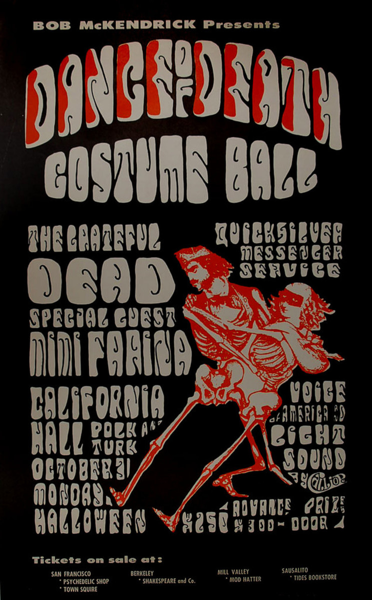 "The Grateful Dead, Quicksiver Messenger Service, Mimi Farina at the  California Hall Halloween (1966) Dance Of Death"" Costume Ball"