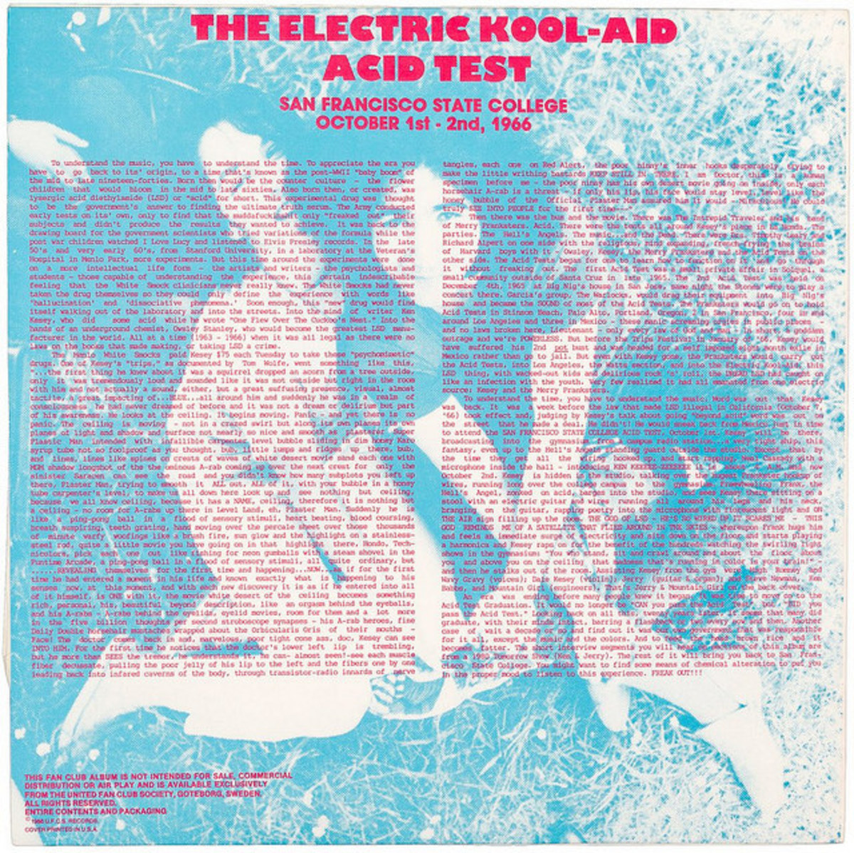 """Electric Kool-Aid Acid Test"" Stellar Music Special SMS 001-1 LP Vinyl Record, Swedish Pressing (1988) Back Album Cover"