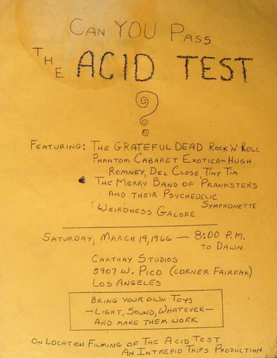 "The Merry Pranksters ""Acid Test"" Handbill Carthay Studios, Pico March 19 1966"
