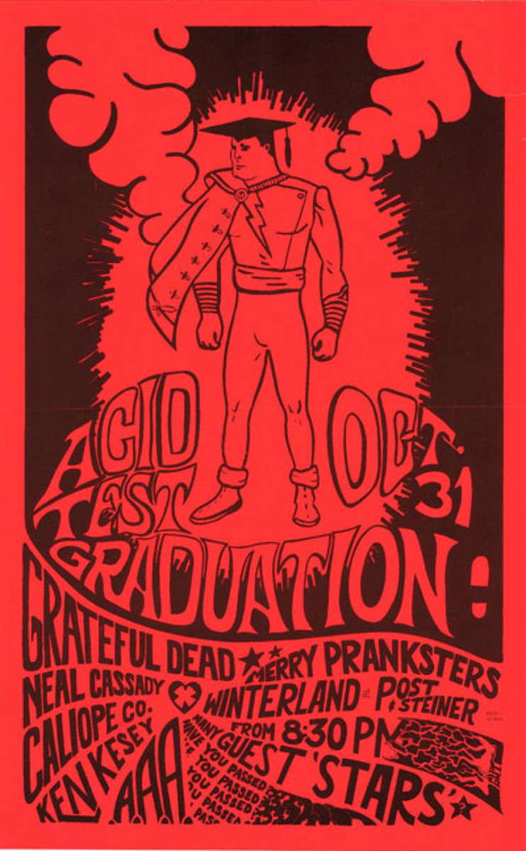 "Ken Keasey and the Merry Pranksters, The Grateful Dead, Winterland Ballroom ""Acid Test"" Graduation Party October 31, 1966 Halloween Poster Art by Allen Turk aka Gut"