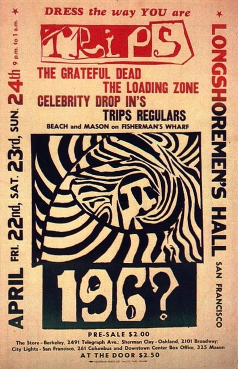 The Grateful Dead, Loading Zone The Longshoreman's Hall Trips Concert April 22, 23, 24, 196?  Concert Poster