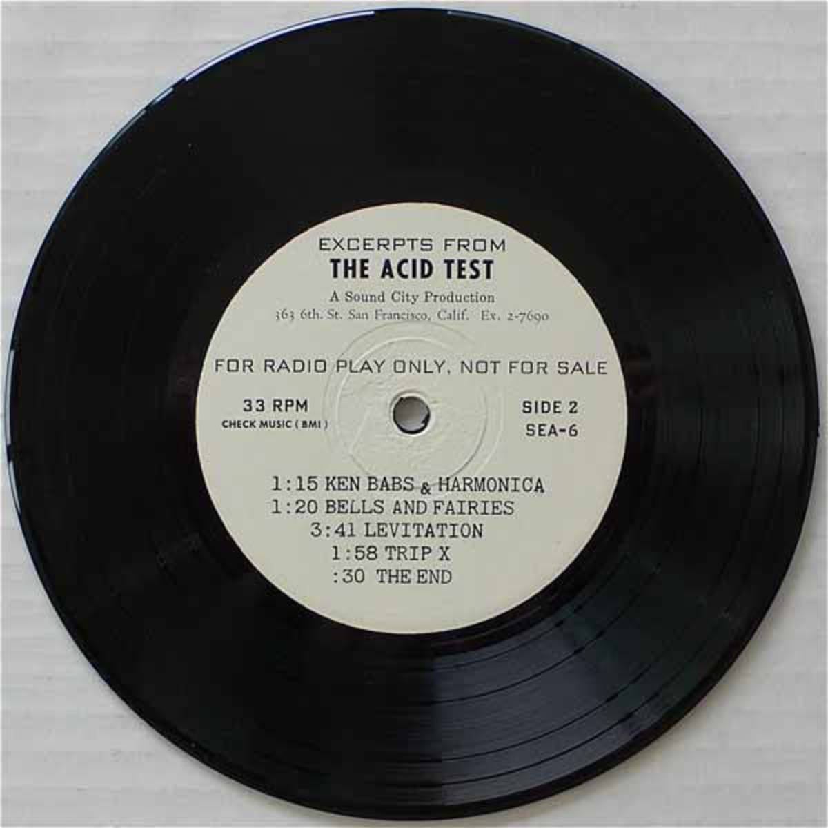 "Ken Kesey and the Merry Pranksters ""Acid Test""  Sound City Productions SEA-5 7"" EP 331/3 rpm (1966) White Label Promotional Record Side B"