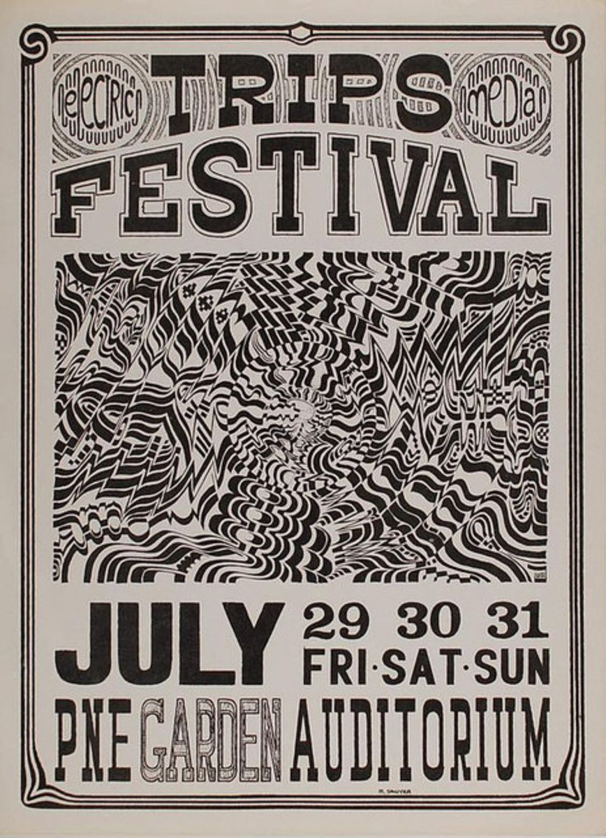 "The Grateful Dead, Jefferson Airplane & Quicksilver Messenger Service ""Acid Test"" Trips Festival Concert Poster July 29, 30, 31 1966 PNE Garden Auditorium Canada"