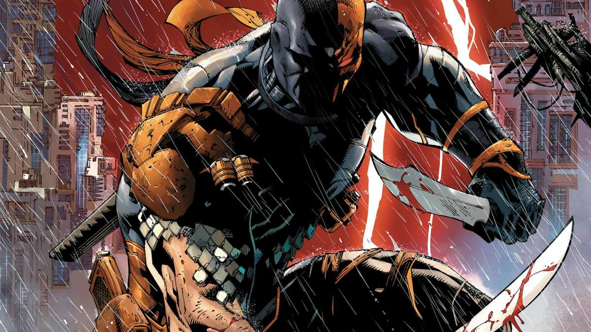 Deathstroke, genetically enhanced to increase his strength and speed to superhuman limits