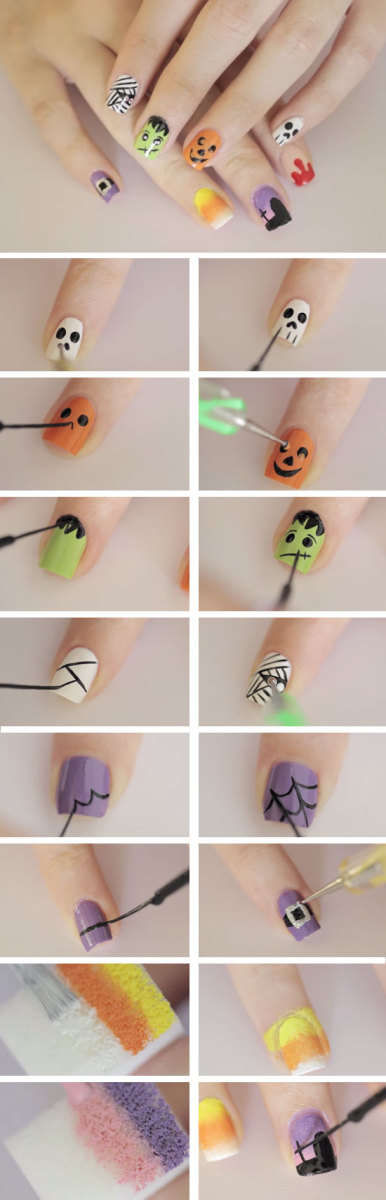 Ghoulish Shapes & Figures | DIY Halloween Nail Design Ideas for Short Nails