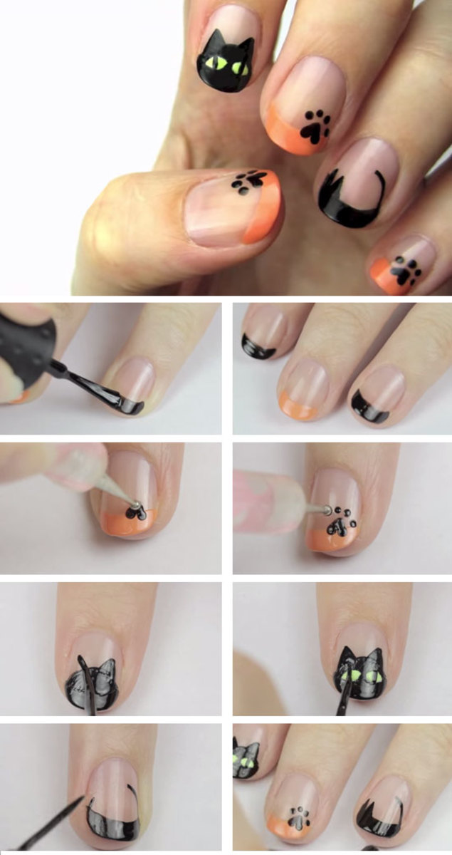 Black-Cat-Nail-Art | DIY Halloween Nail Design Ideas for Short Nails