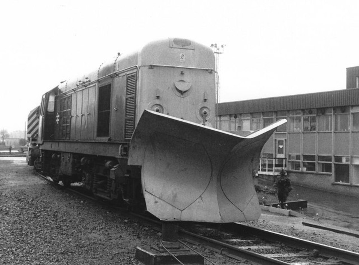 Diesel locomotive with snow plough attachment at Eastfield (Glasgow or Hampshire?)