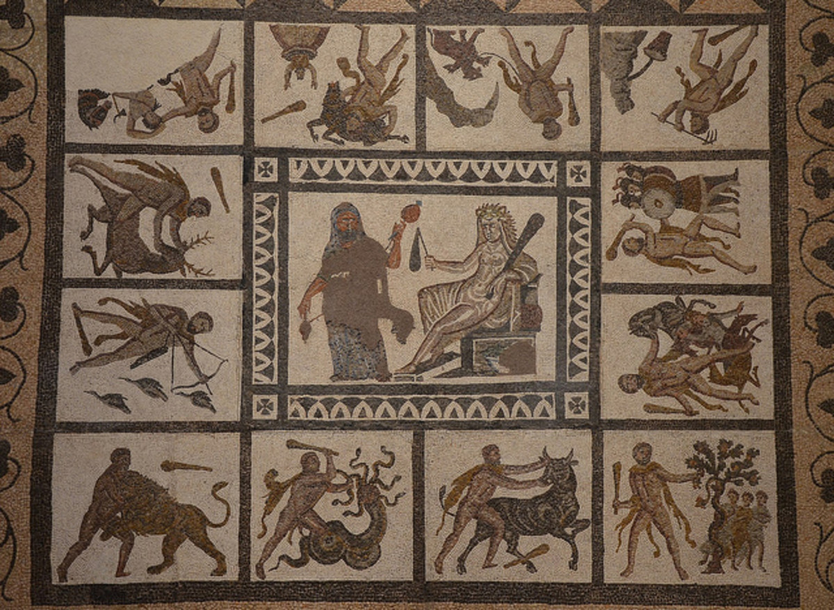 Mosaic with the Labors of Hercules, 3rd century AD, found in Liria (Valencia), National Archaeological Museum of Spain, Madrid - Carole Raddato - CC-BY-SA-2.0