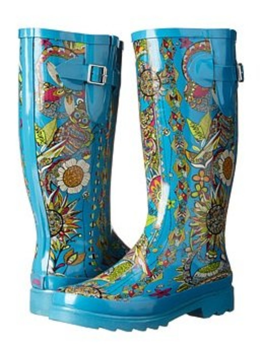 These fabulous floral boots are the Rhythm by  Sakroots and are designed to fix a wider calf size.