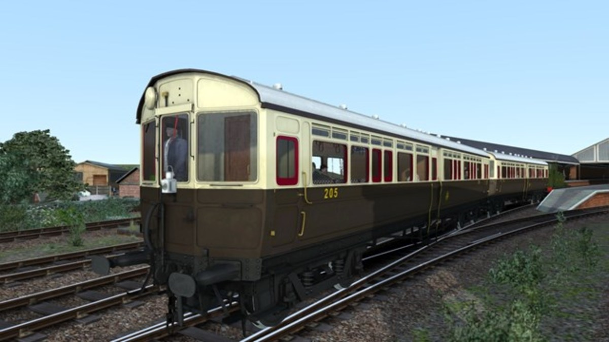 Computer-generated image of GWR Autocoach in its original chocolate and cream livery