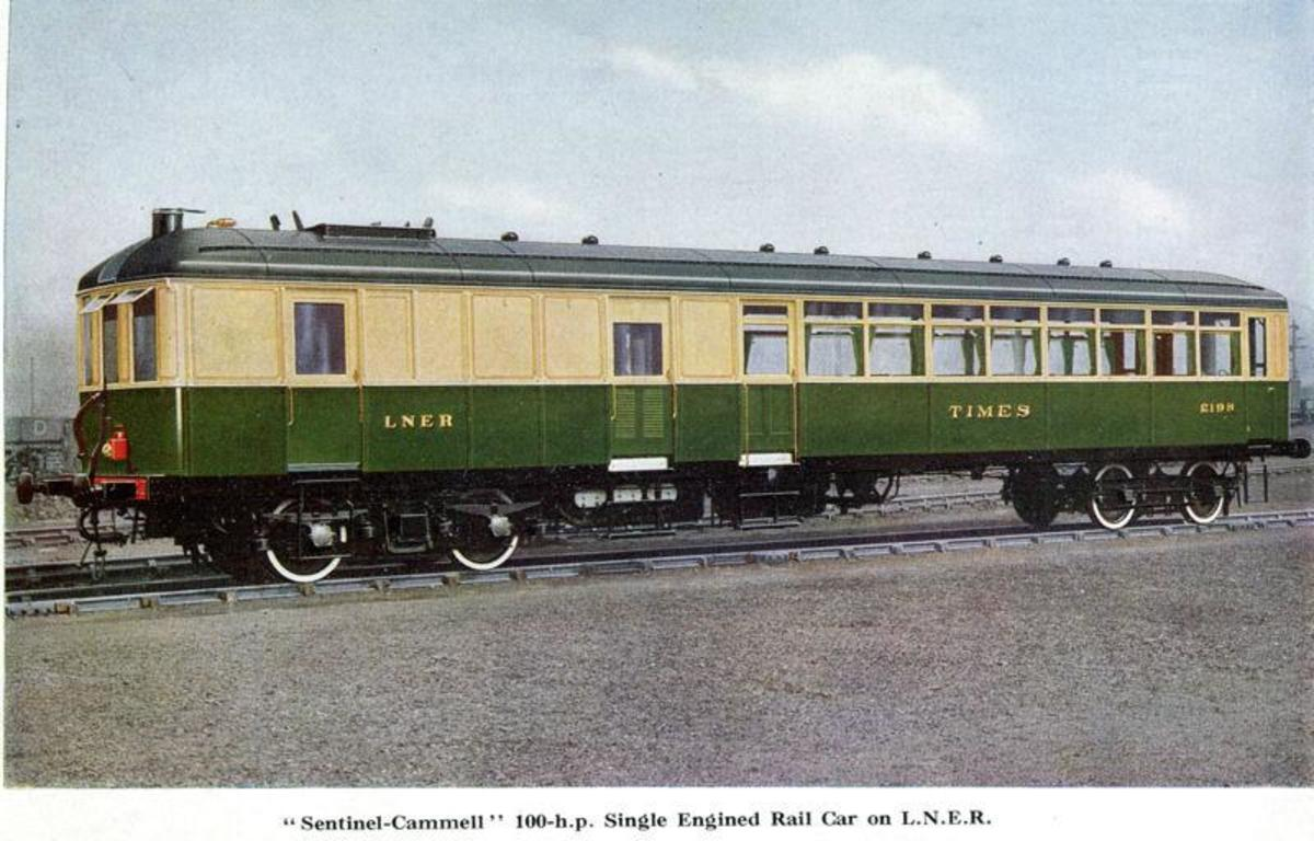 Sentinel Railcar, 'Times', these and the chunkier Clayton steam railcars were introduced on LNER branch lines to cut costs in the 1930s. 'Coffee pot' boiler in mid-car was fed by the fireman, who didn't see his driver until they came to journey's end