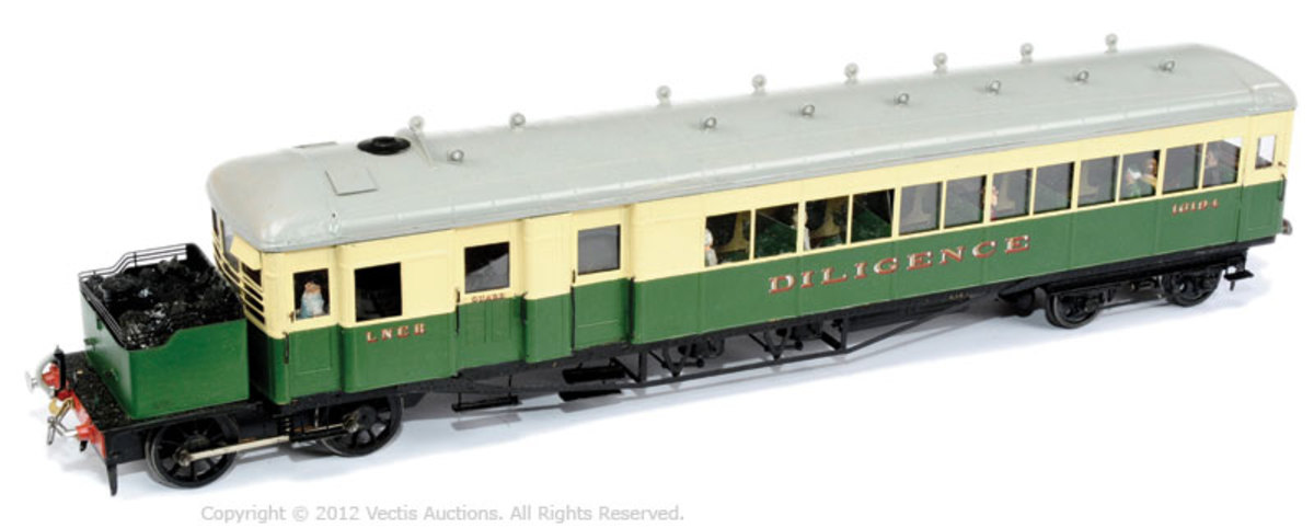 O Gauge (7mm) model of Clayton steam railcar in LNER livery, No. 16194 'Diligence' (a Sentinel steam railcar shedded at West Auckland, County Durham bore the same name)
