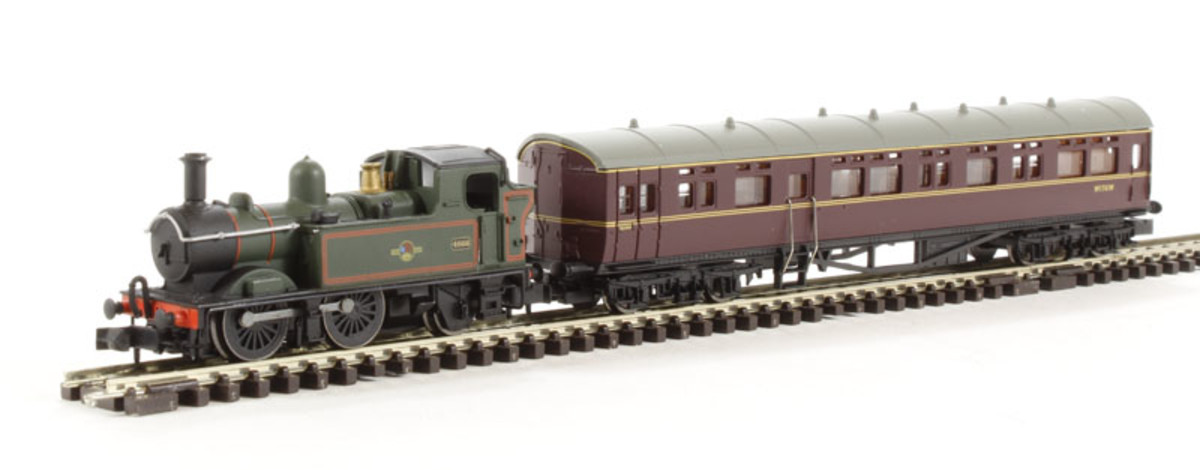 NSTEAM1 model Great Western Railway autocoach trainset with track oval, Class 14XX locomotive in charge