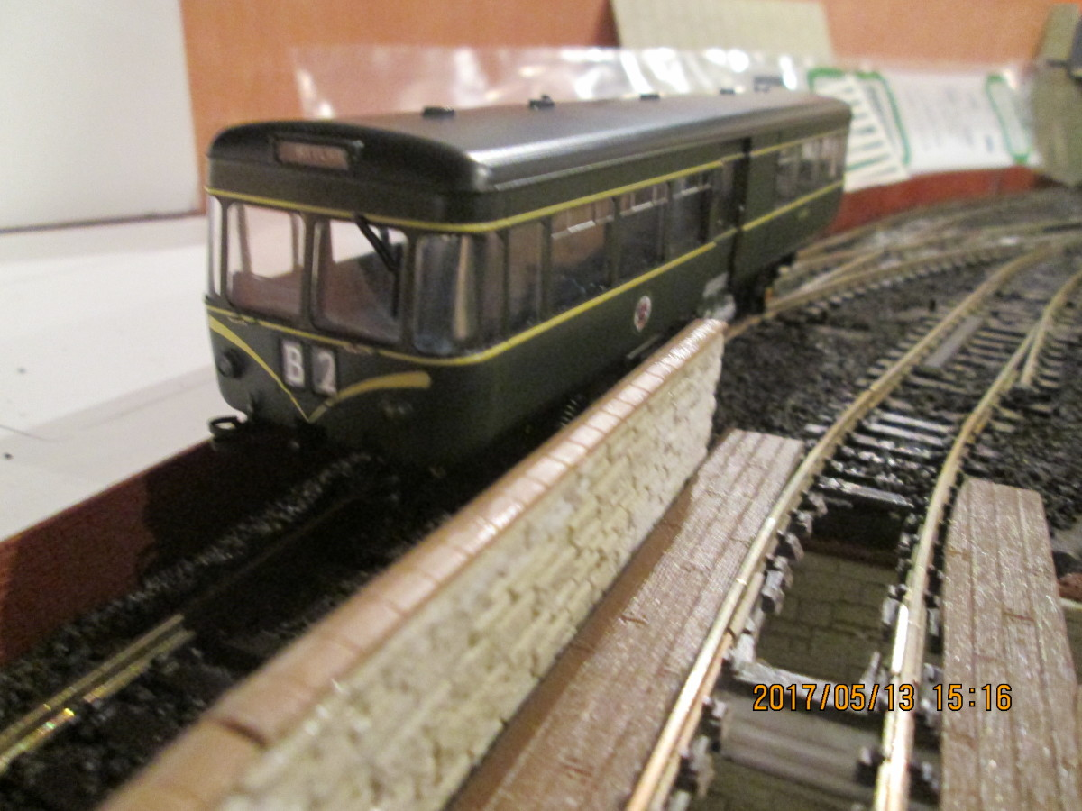 Danish company Heljan introduced their AEC Park Royal railcar last year (2016) in several variants. This is the early version with 'speed whiskers' either side of the route code box that I bought for the 'Thorpe Carr' mini-layout (cf)