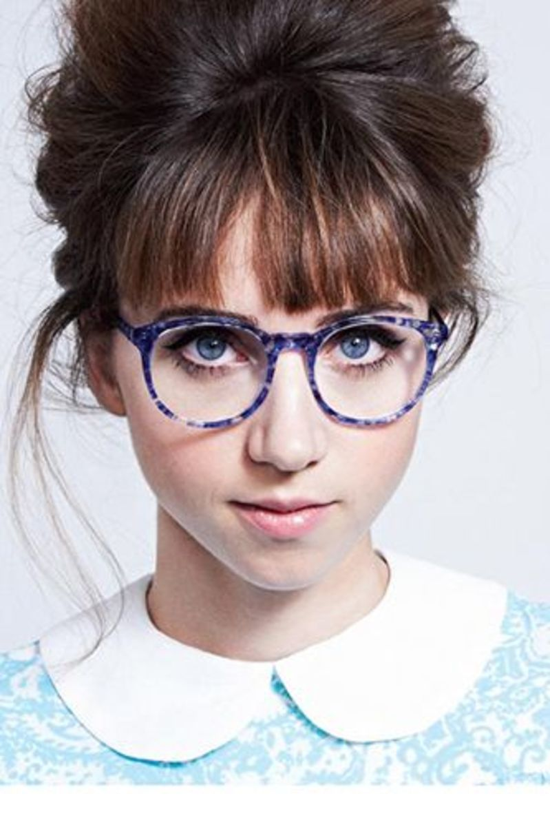 Oversized purple framed eye-glasses on cute girl
