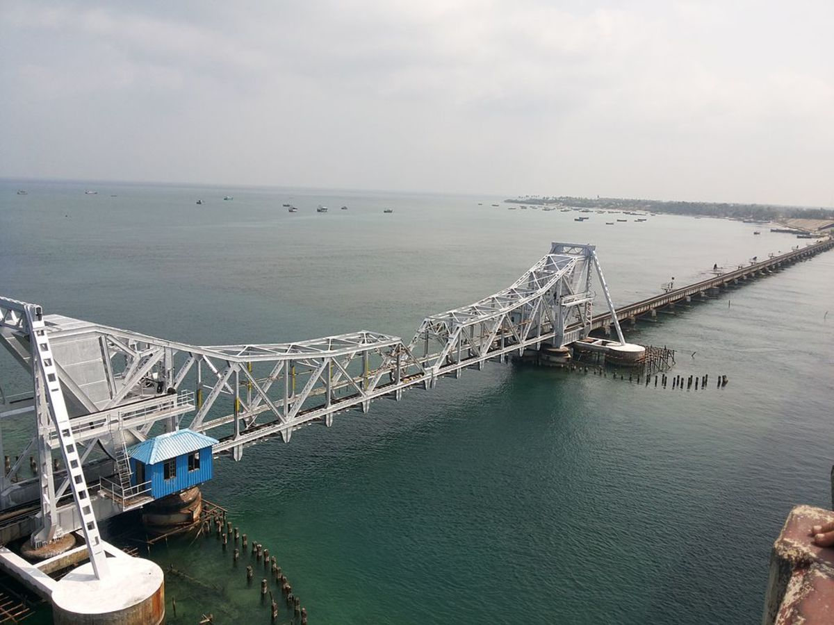 The Pamban Bridge over teh Sea