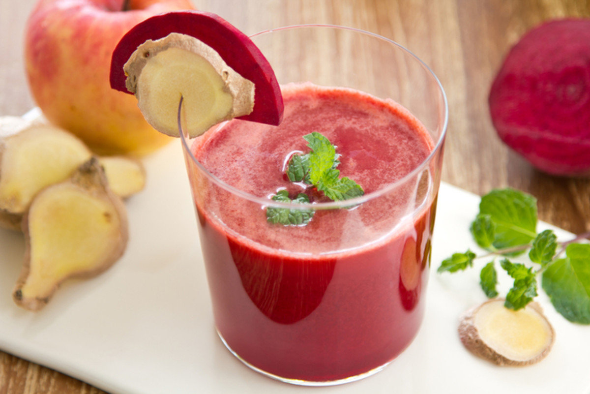 Organic beetroot, ginger and carrot made into juice can be very effective in the detoxification of the liver.