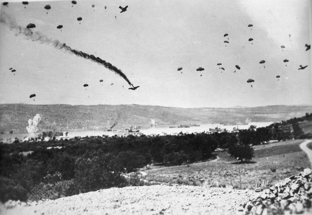 The onset of the German air drop on Maleme airfield on the north coast of Crete