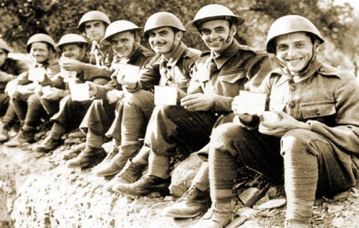Greek troops pose for the camera between action