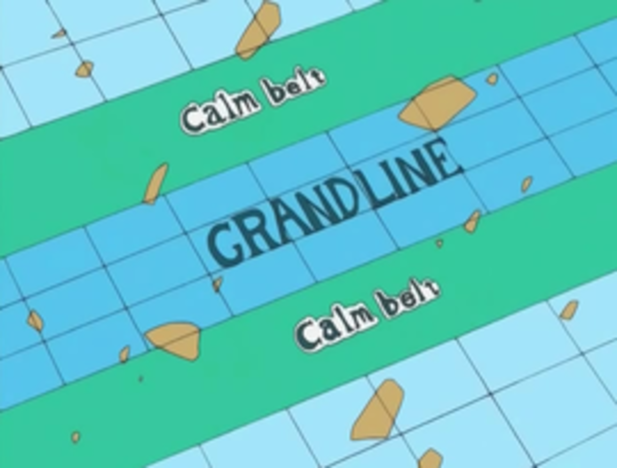 Grandline surrounded with Calm Belts on both sides.