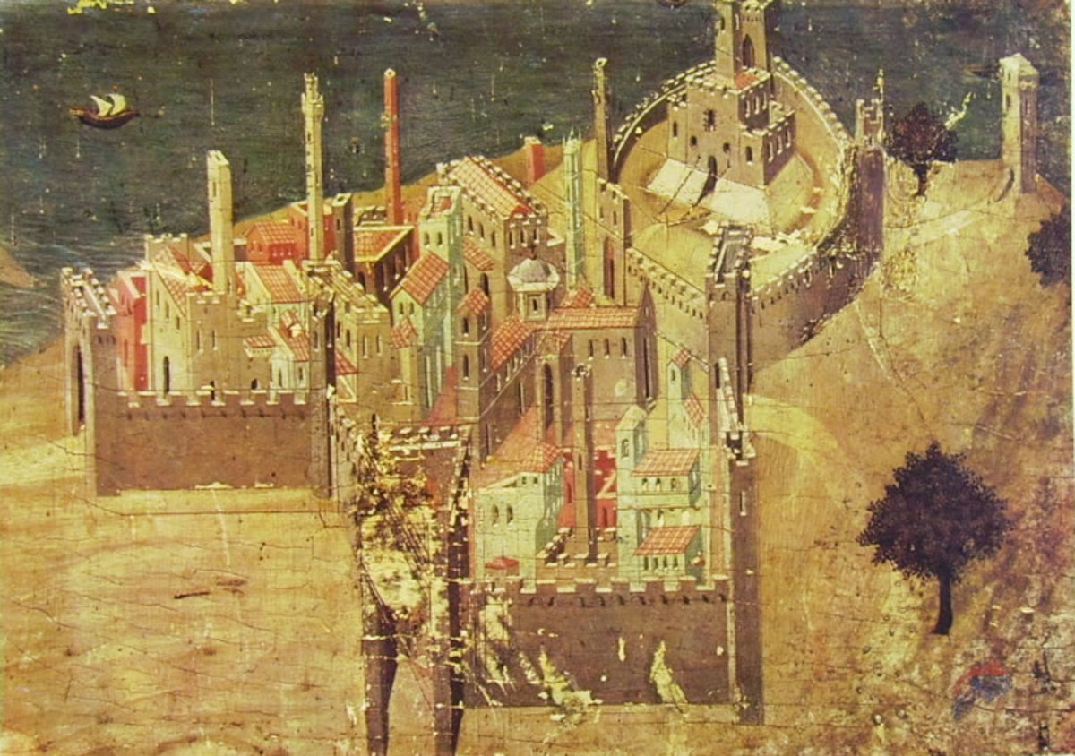Ambrogio Lorenzetti, City by the Sea (a. 1335), Siena Pinacoteca Nazionale