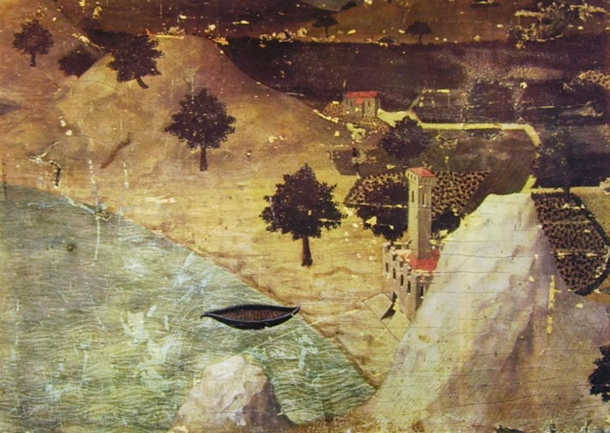 Ambrogio Lorenzetti, A Castle by a Lake (a. 1330), Siena Pinacoteca Nazionale