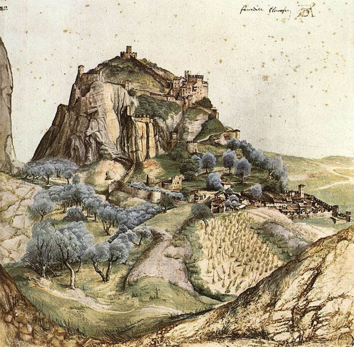 "Albrecht Dürer, View of Arco (1495), Paris Musée du Louvre - This drawing by Albrecht Dürer is one of the first known ""pure"" landscapes in western art."