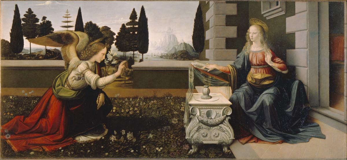Leonardo da Vinci, Annunciation (a. 1475), Florence Galleria degli Uffizi