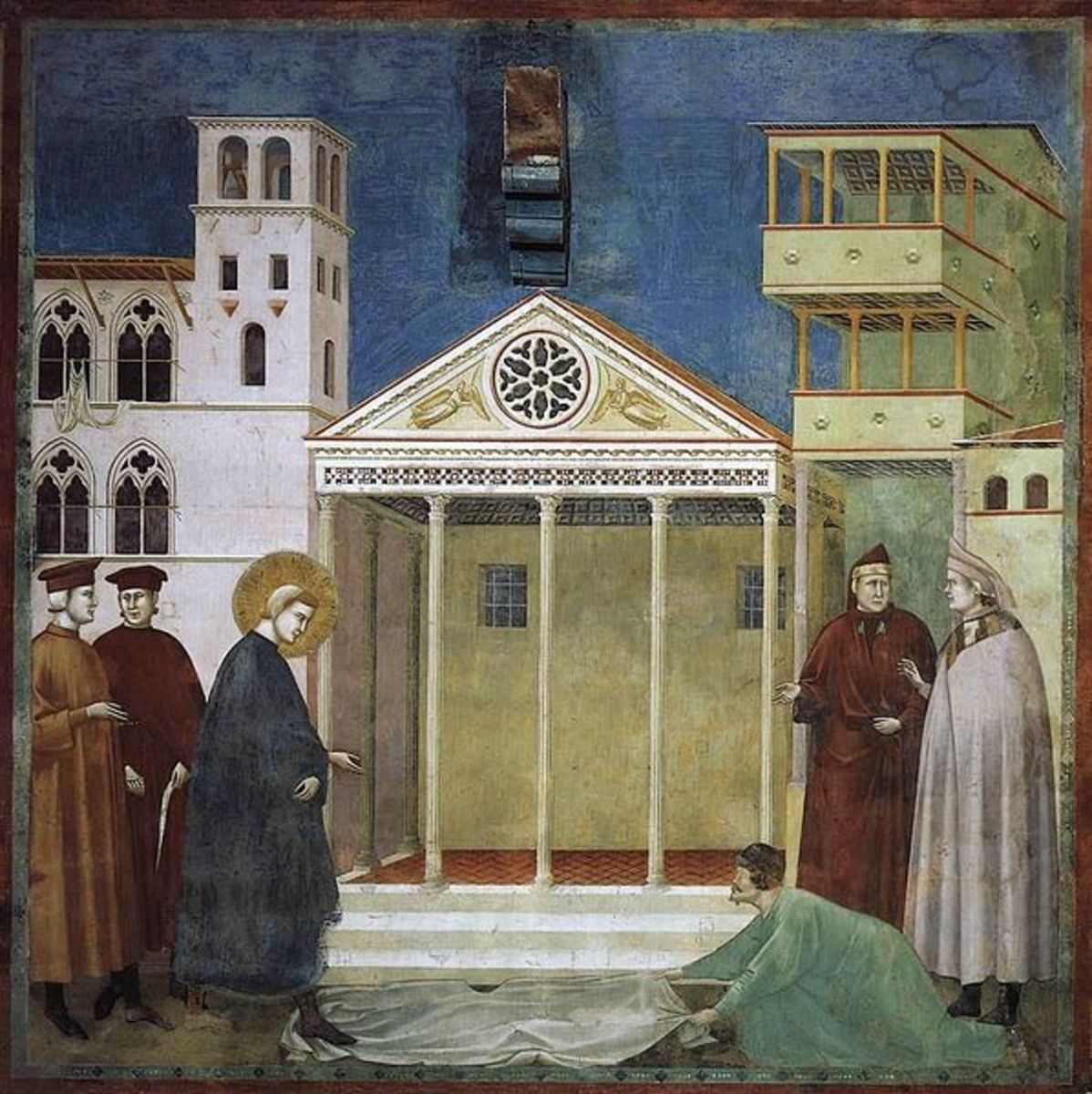 Giotto di Bondone, Homage of a Simple Man (a. 1299), Assisi Upper Church