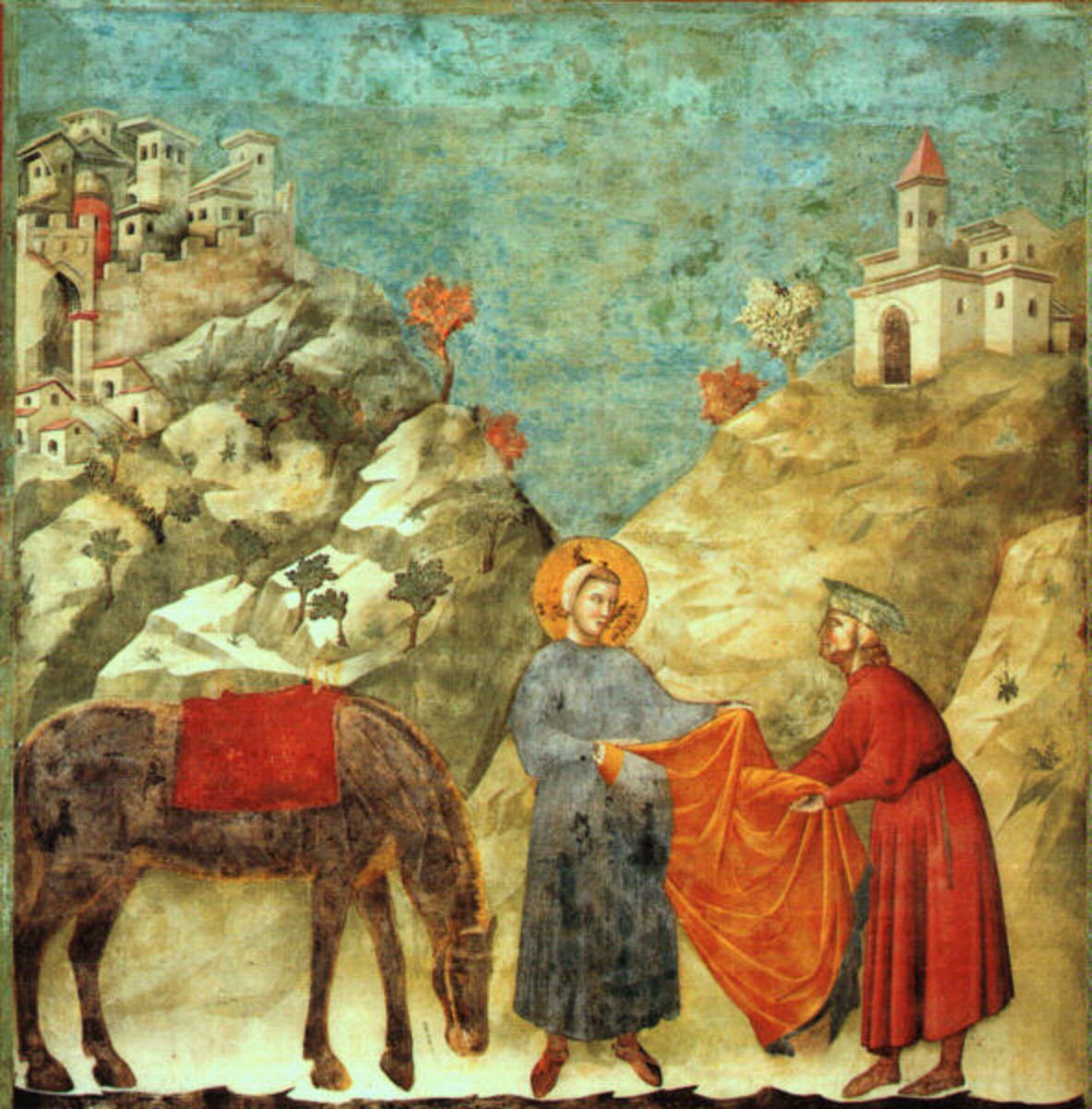 Giotto di Bondone, St Francis Giving his Mantle (a. 1300), Assisi Upper Church