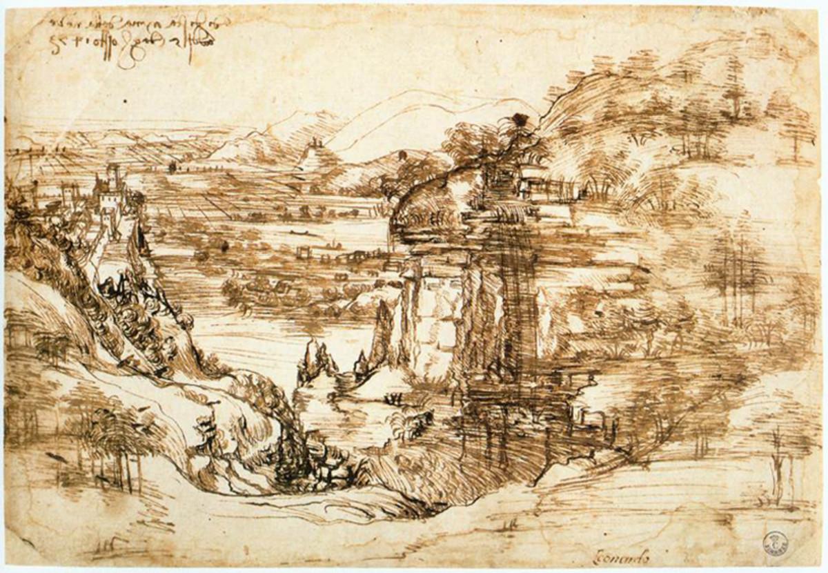 Leonardo da Vinci, Landscape with a River (1473), Florence Galleria degli Uffizi