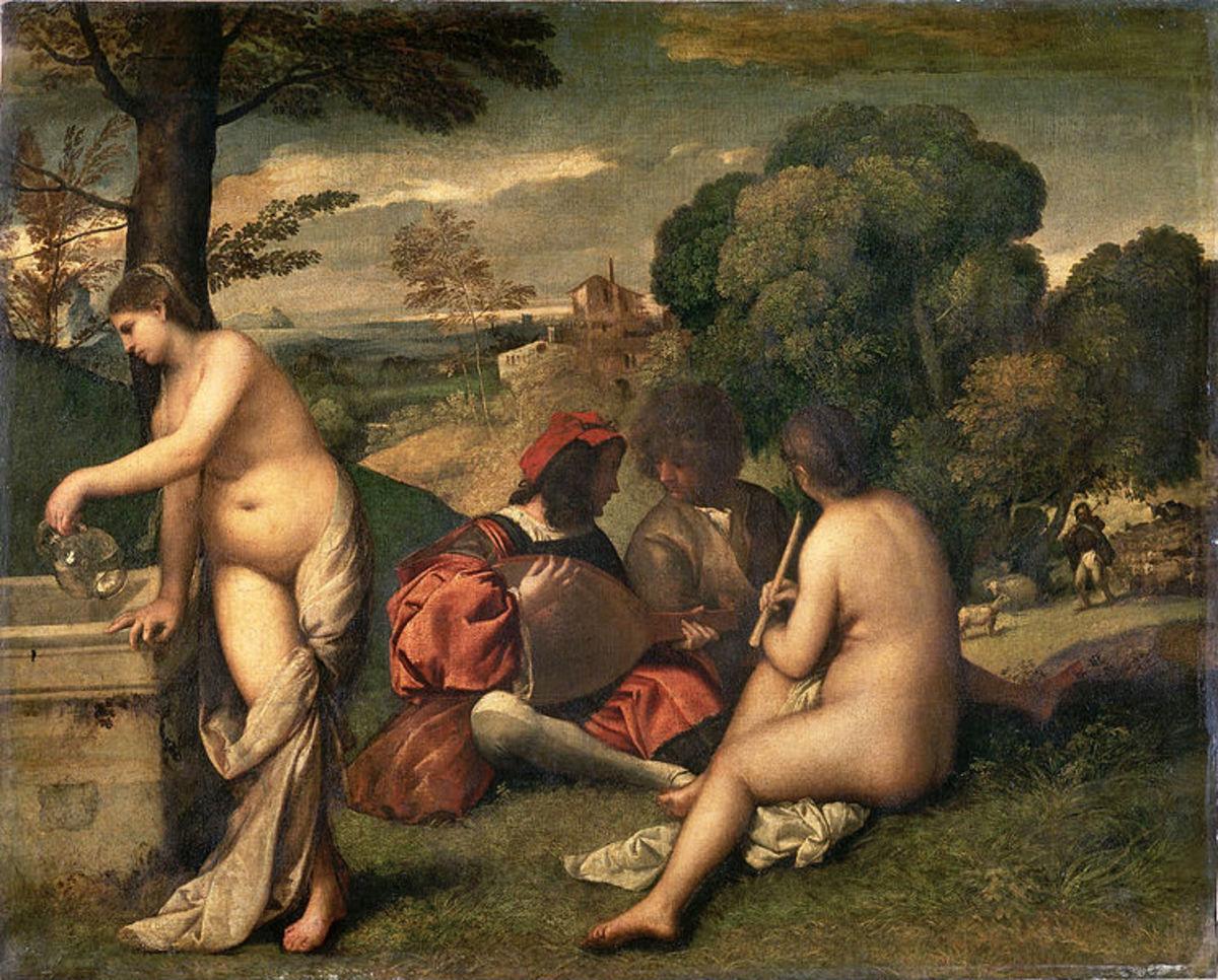 Giorgione and Titian (?), Pastoral Concert (1510), Paris Mousée du Louvre