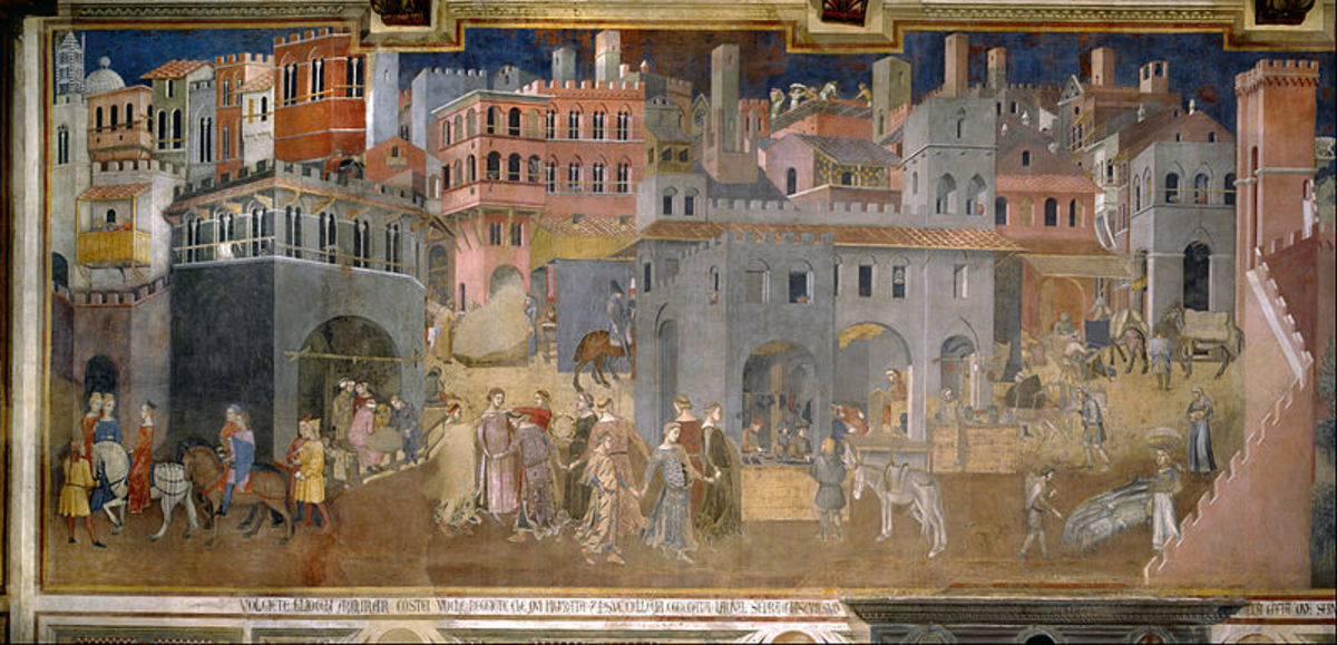 Ambrogio Lorenzetti, Effects of Good Government in the city (1339), Siena Palazzo Pubblico