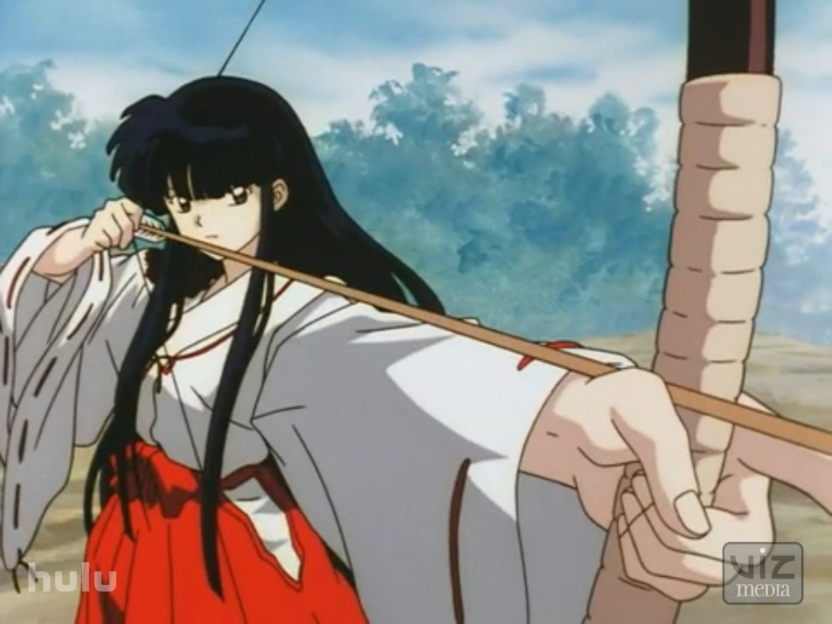 Inuyasha's Kikyo wears the traditional garb of a Shinto miko.