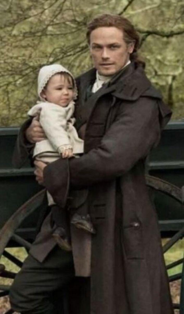 Jamie Fraser Outlander Series 5 with baby Jemmy