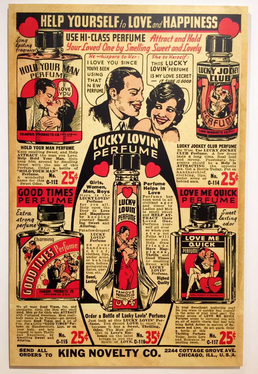 """King Novelty perfumes promises luck in love and to """"hold your man."""""""